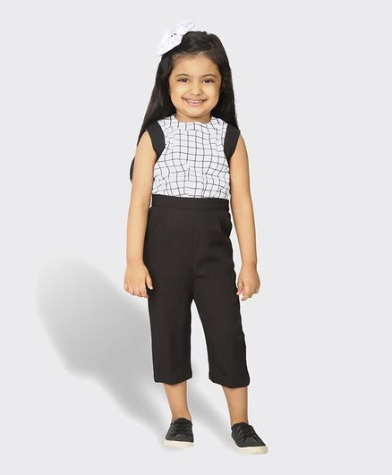 Tic Tac Toe Sleeveless Checkered Jumpsuit - Black & White