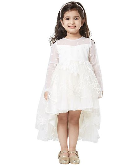 Tic Tac Toe Full Sleeves High-Low Flower Embroidered Party Dress - White