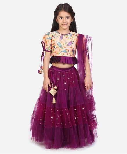 Whitehenz Clothing Half Sleeves Bird Printed Choli With Lehenga & Dupatta - Peach & Violet