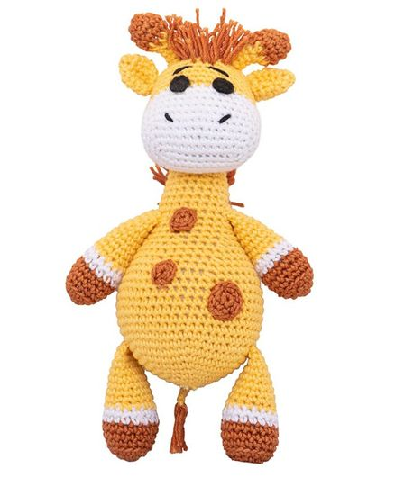 Happy Threads Crochet Giraffe Soft Toy Light Yellow - Height  16.25 cm