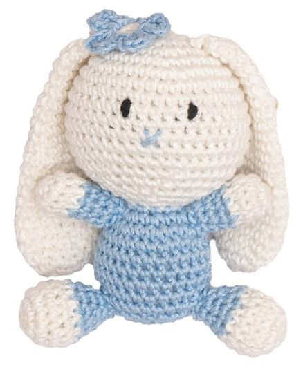 Happy Threads Amigurumi Crochet  Soft Toy Furry Bunny Blue - Height 7.62 cm