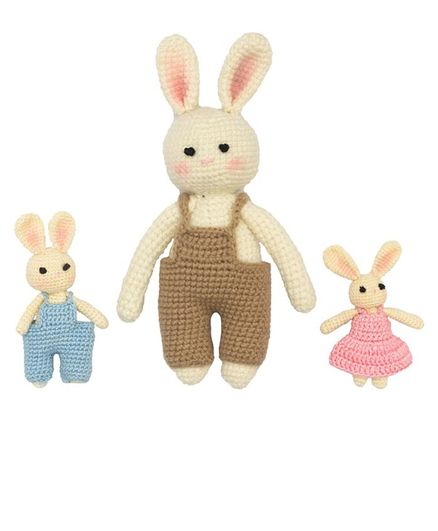 Happy Threads Amigurumi Crochet Soft Toy Bunny Colony Pack of 3 Multicolor - Height - 17.78 cm