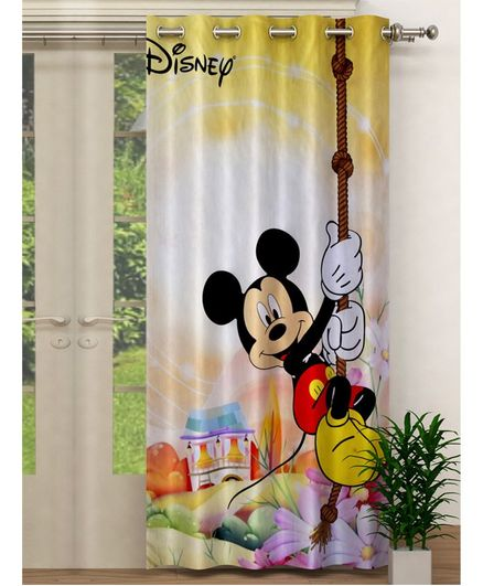 Fun Homes Disney Mickey Print Polyester Special Blackout Crush Eyelet Door Curtain - Yellow
