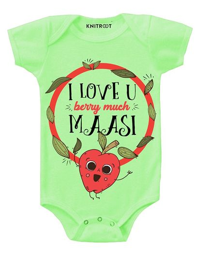 KNITROOT Short Sleeves Love You Berry Much Printed Onesie - Light Green