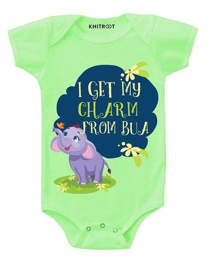 KNITROOT Short Sleeves I Get My Charm From Bua Printed Onesie - Light Green
