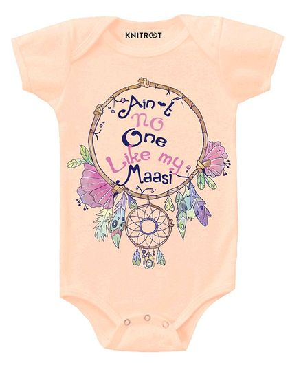 KNITROOT Short Sleeves Like My Massi Printed Onesie - Peach