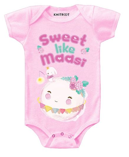 KNITROOT Short Sleeves Sweet Like Massi Printed Onesie - Pink