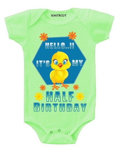 KNITROOT Short Sleeves Half Birthday Print Onesies - Green