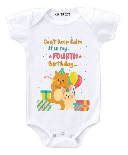 KNITROOT Fourth Birthday Print Short Sleeves Onesie - White