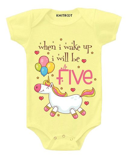 KNITROOT Short Sleeves I'll Be 5 Print Onesie - Yellow