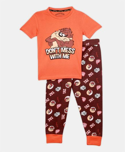 Nap Chief Short Sleeves Looney Tunes Character Printed Organic Cotton Night Suit - Orange