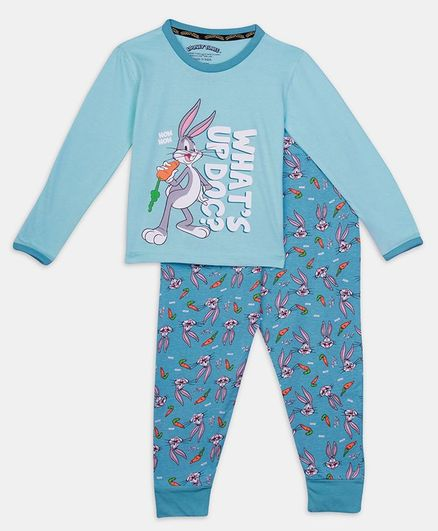 Nap Chief Full Sleeves Looney Tunes Character Printed Organic Cotton Night Suit - Blue