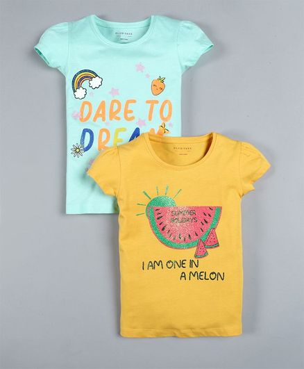 Plum Tree Pack Of 2 Short Sleeves Watermelon Print T-Shirts - Yellow & Blue