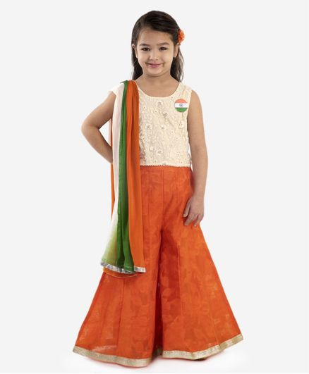 Lil Peacock Sleeveless Floral Embroidered Top With Flared Palazzo & Dupatta - White Orange