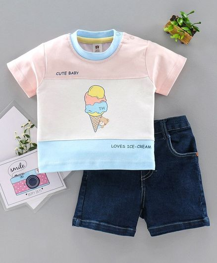 ToffyHouse Half Sleeves Tee and Shorts Set Ice Cream Print - Peach