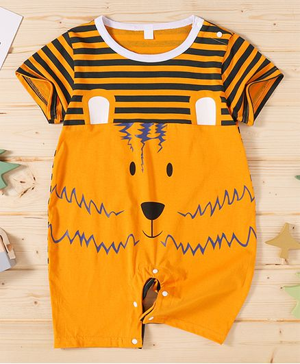 Kookie Kids Half Sleeves Printed Romper - Orange
