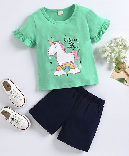 Kookie Kids Half Sleeves Tee & Shorts Unicorn Print - Green Navy Blue