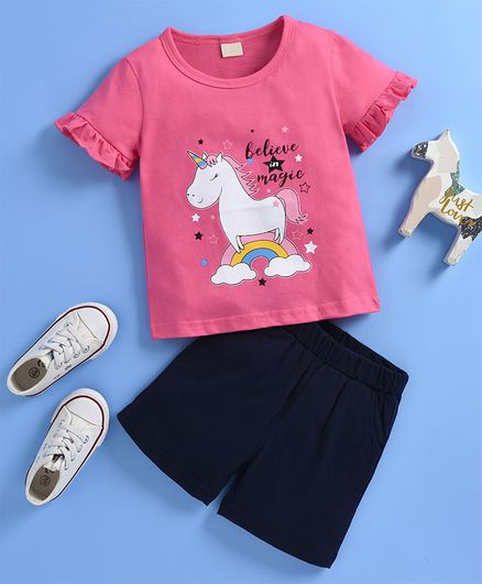 Kookie Kids Half Sleeves Tee & Shorts Unicorn Print - Pink Navy Blue