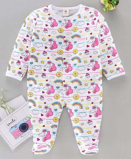 ToffyHouse Full Sleeves Sleep Suit Unicorn Print - White Pink