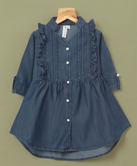 Little Carrot Frill Detail Full Sleeves Front Buttoned Dress - Dark Blue