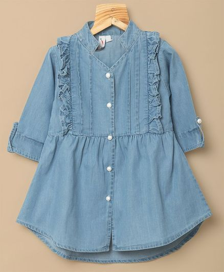 Little Carrot Frill Detail Full Sleeves Pearl Buttoned Dress - Blue
