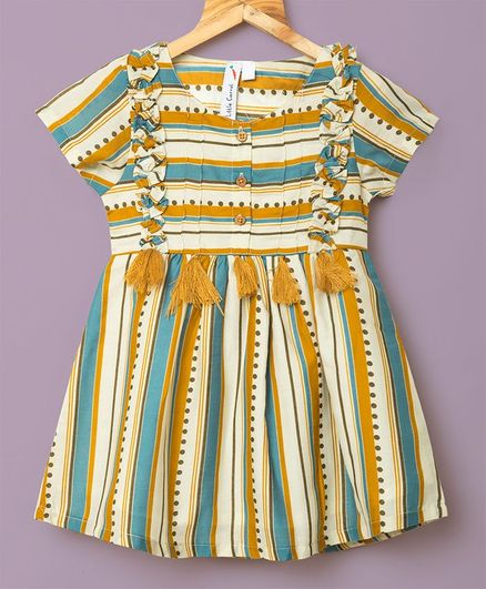 Little Carrot Striped Short Sleeves Tassel Detailing Dress - Yellow