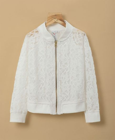 Little Carrot Full Sleeves Floral Lace Jacket - White
