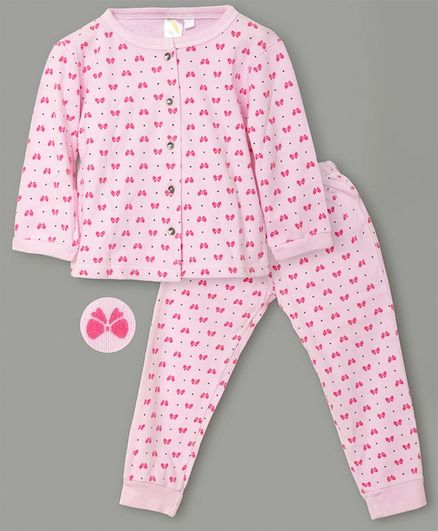 Little Carrot Interlock Jersey Ultrasoft Full Sleeves Bow Print Night Suit - Pink