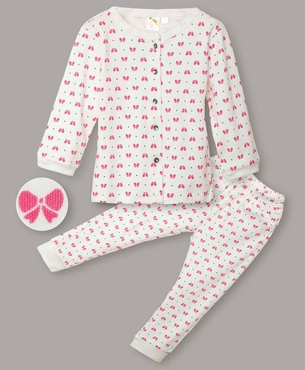 Little Carrot Interlock Jersey Ultrasoft Full Sleeves Bow Print Night Suit - White