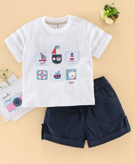 ToffyHouse Half Sleeves T-Shirt & Shorts Animal Patch - Navy Grey