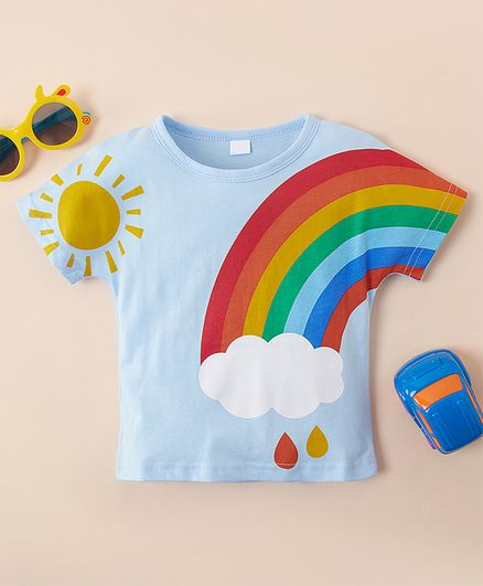 Kookie Kids Half Sleeves Tee Rainbow Print - Blue