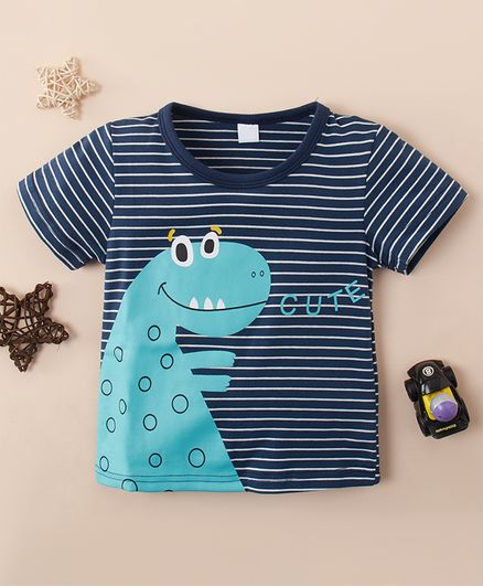 Kookie Kids Half Sleeves Striped Tee Dino Print - Navy Blue