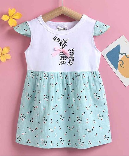 Kookie Kids Cap Sleeves Frock Allover Print - Blue