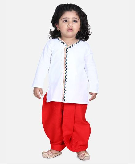 BownBee Full Sleeves Front Open Embroidered Kurta With Dhoti - White