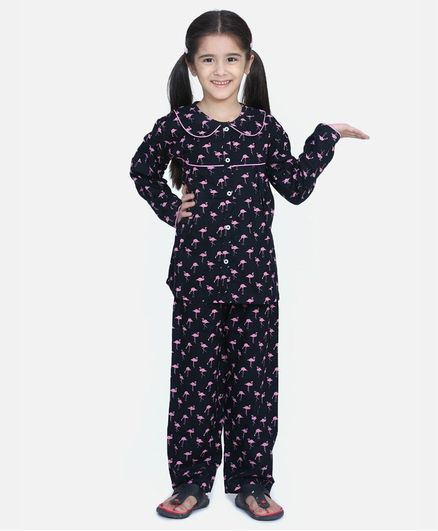 BownBee Full Sleeves Flamingo Print Night Suit - Dark Blue