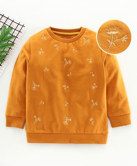 Ventra Full Sleeves Flower Embroidery Sweatshirt - Brown
