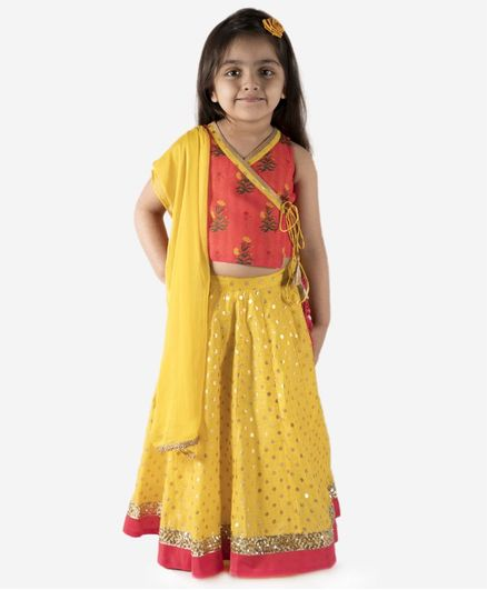 Lil Peacock Sleeveless Floral Print Choli With Chanderi Lehenga & Dupatta - Yellow