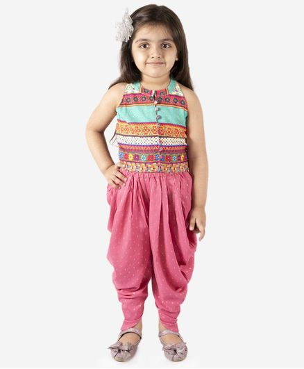 Lil Peacock Sleeveless Top With Dhoti - Pink