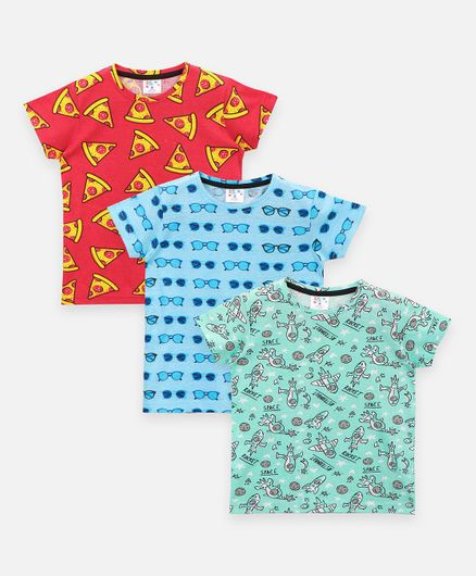 Lilpicks Couture Quirky Print Pack Of 3 Short Sleeves Tee - Multi Color