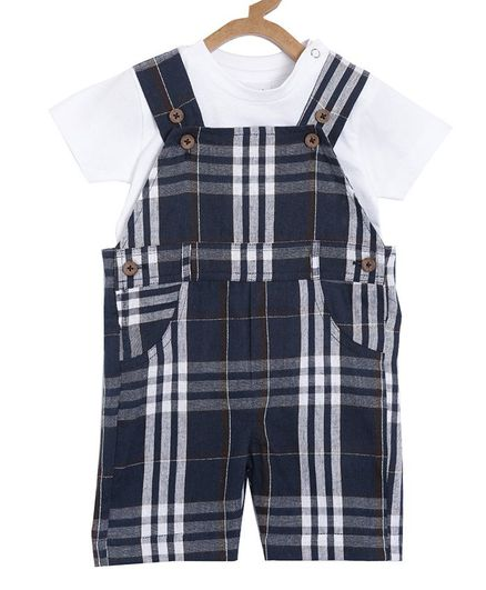 Aomi Half Sleeves T-Shirt With Checked Dungaree - Navy Blue