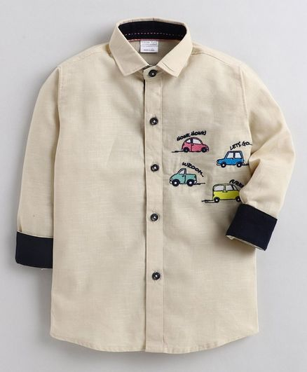 Polka Tots Full Sleeves Car Embroidered Shirt - Beige