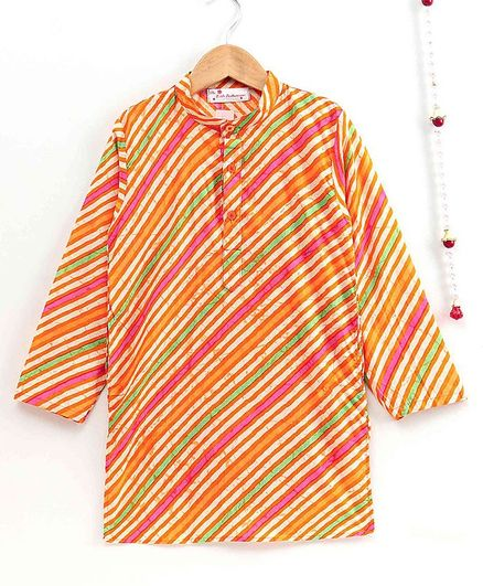 The Little Fashionistas Full Sleeves Traditional Leheria Print Cotton Kurta - Orange