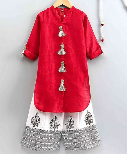 The Little Fashionistas Full Sleeves Tassel Kurta Wth Palazzo - Red & Off White