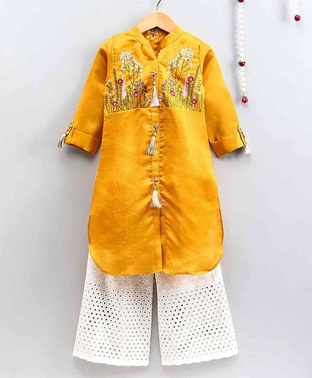 The Little Fashionistas Full Sleeves Flower Embroidered Elegant Kurti With Flared Hakoba Palazzo - Yellow & Off White