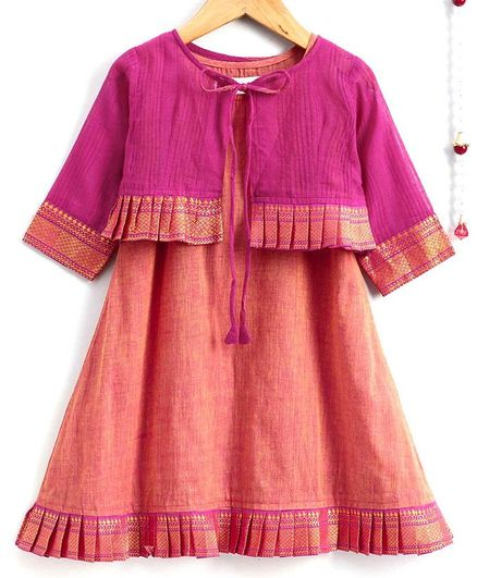 The Little Fashionistas Full Sleeves Dress With Frilled Border Jacket - Pink & Peach