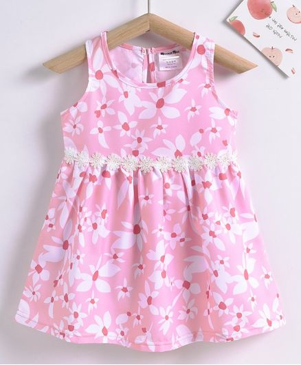 Kookie Kids Sleeveless Floral Printed Frock - Pink