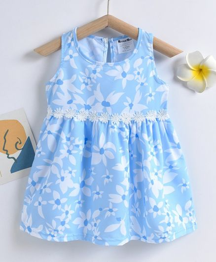 Kookie Kids Sleeveless Floral Printed Frock - Blue