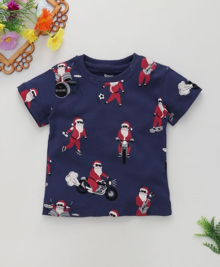 ROYAL BRATS Half Sleeves Santa Claus Print T-Shirt  - Blue