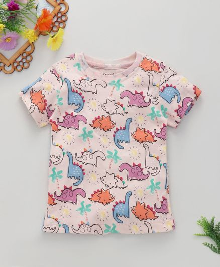 ROYAL BRATS Half Sleeves Dinosaur Print T-Shirt  - Pink