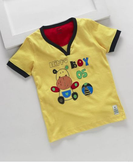 ROYAL BRATS Half Sleeves Hippo Print T-Shirt - Yellow